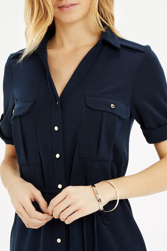 Oasis, Textured Shirt Dress Navy 4