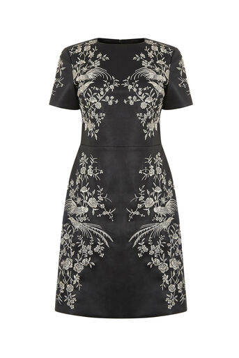 Oasis, FAUX LEATHER EMBROIDERED DRESS Multi 0