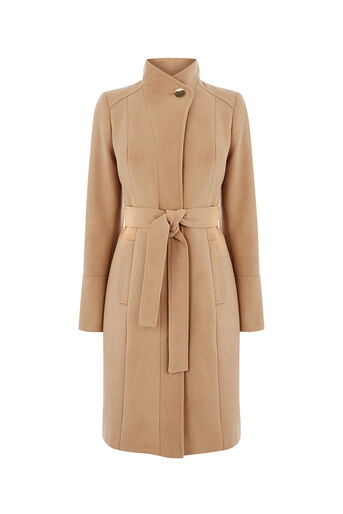Oasis, LEAHANA FUNNEL NECK COAT Camel 0