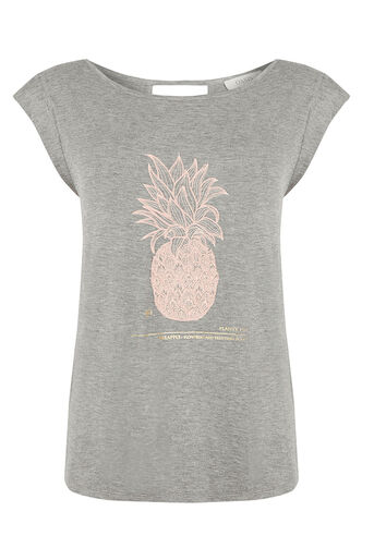Oasis, Embroidered Pineapple T-Shirt Mid Grey 0