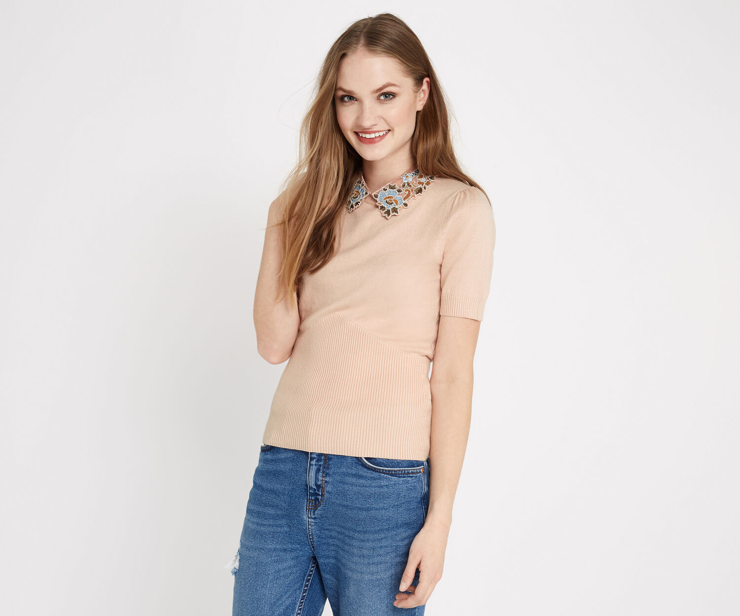 Oasis, EMBROIDERED COLLAR KNIT Powder Pink 1