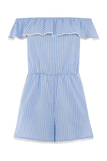 Oasis, Woven stripe play suit Multi Blue 0