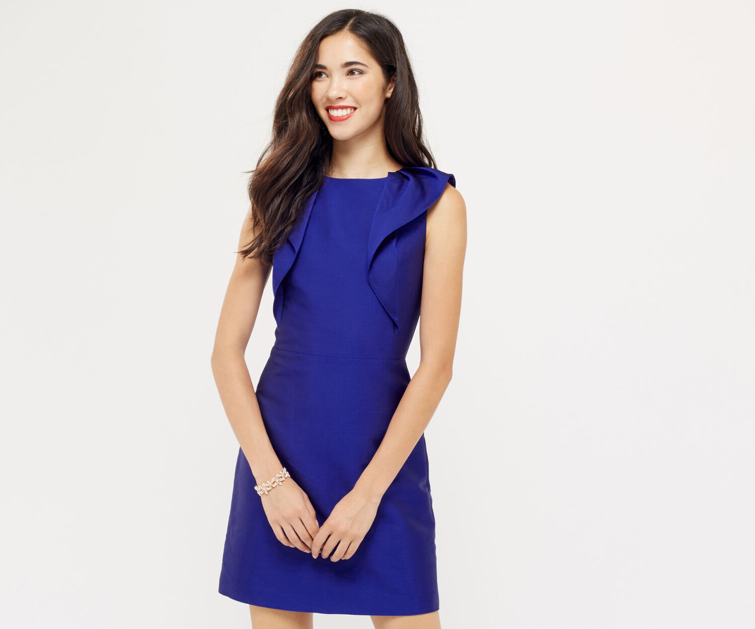 Oasis, TWILL SATIN RUFFLE SHIFT Cobalt Blue 1
