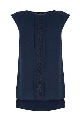 Oasis, Roll Sleeve Dobby T-shirt Navy 0