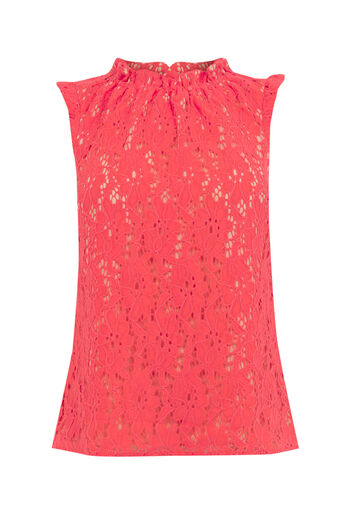 Oasis, LACE RUCHED TOP Coral 0