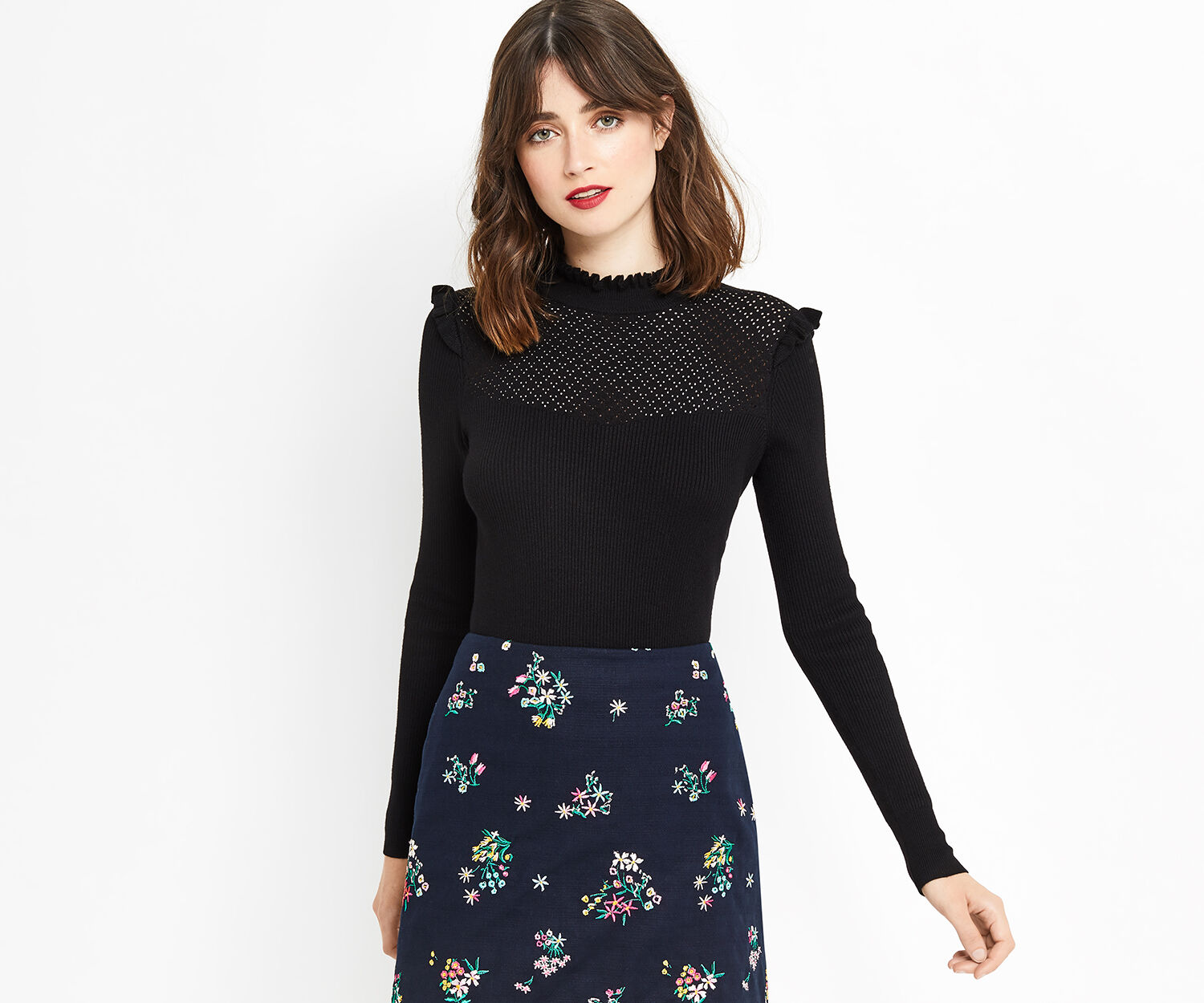 Oasis, Pointelle cute frill Black 1