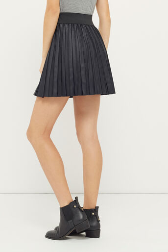 Oasis, PLEATED FAUX LEATHER SKIRT Black 3
