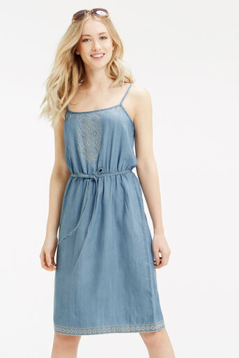 Oasis, Embroidered Cami Dress Light Wash 1