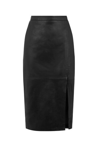 Oasis, Leather Wrap Pencil Skirt Black 0