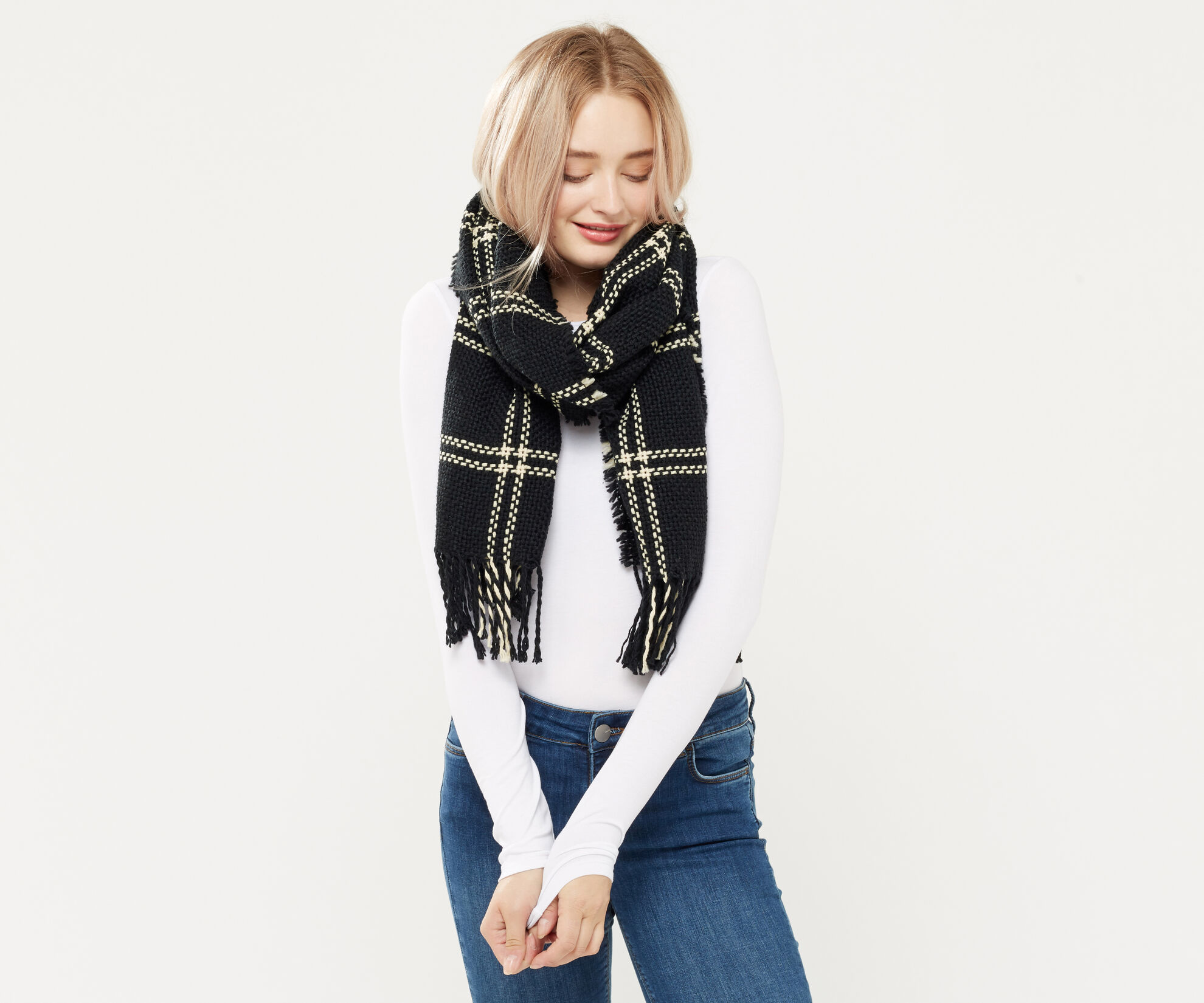 Oasis, STITCHED GRID CHECK SCARF Black and White 1