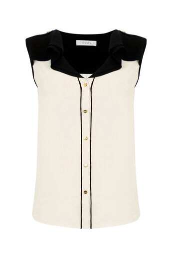 Oasis, FRILL PIPED SHIRT Off White 0
