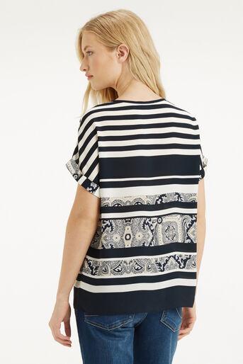 Oasis, Stripe Paisley T-Shirt Multi Blue 3