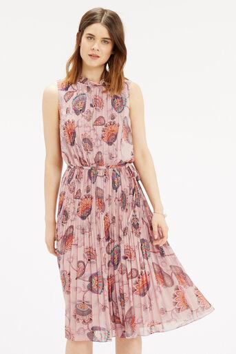 Oasis, Goddess Tie Neck Dress Multi Natural 1