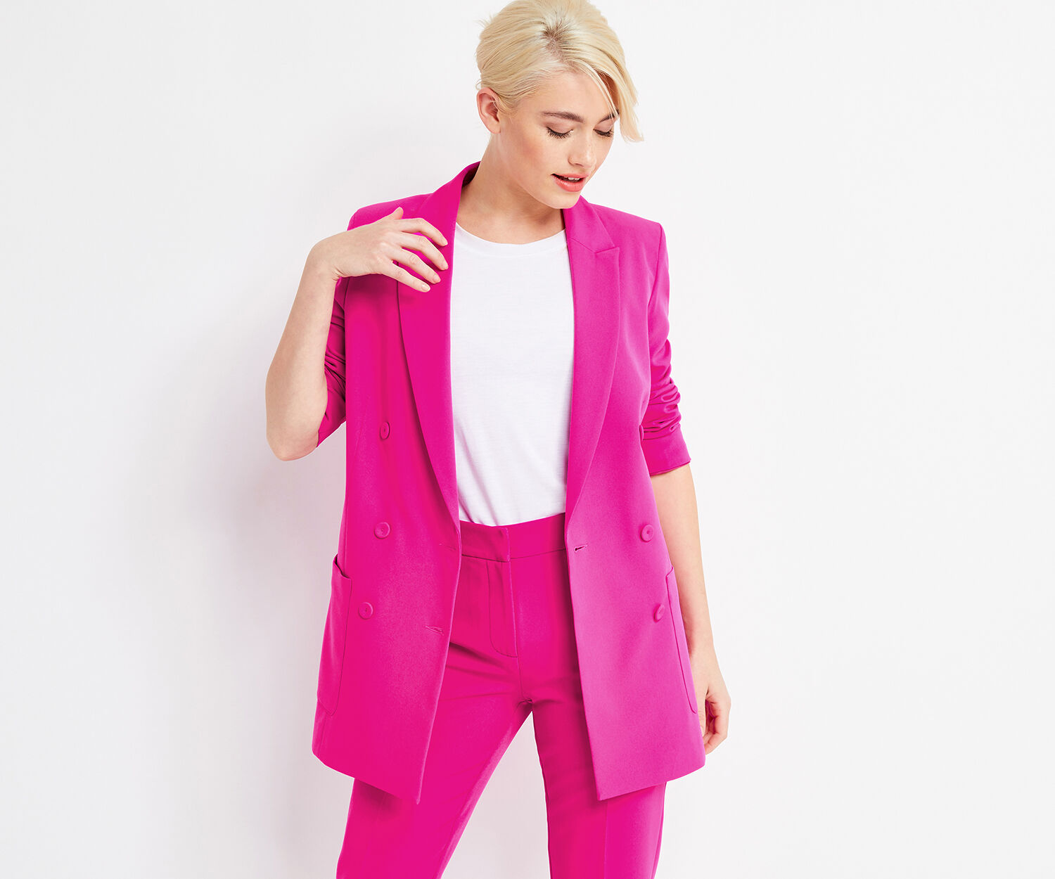 Oasis, COLOUR POP JACKET Bright Pink 1
