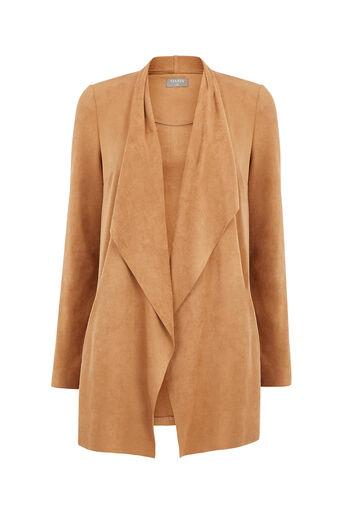 Oasis, Suedette Drape Jacket Tan 0