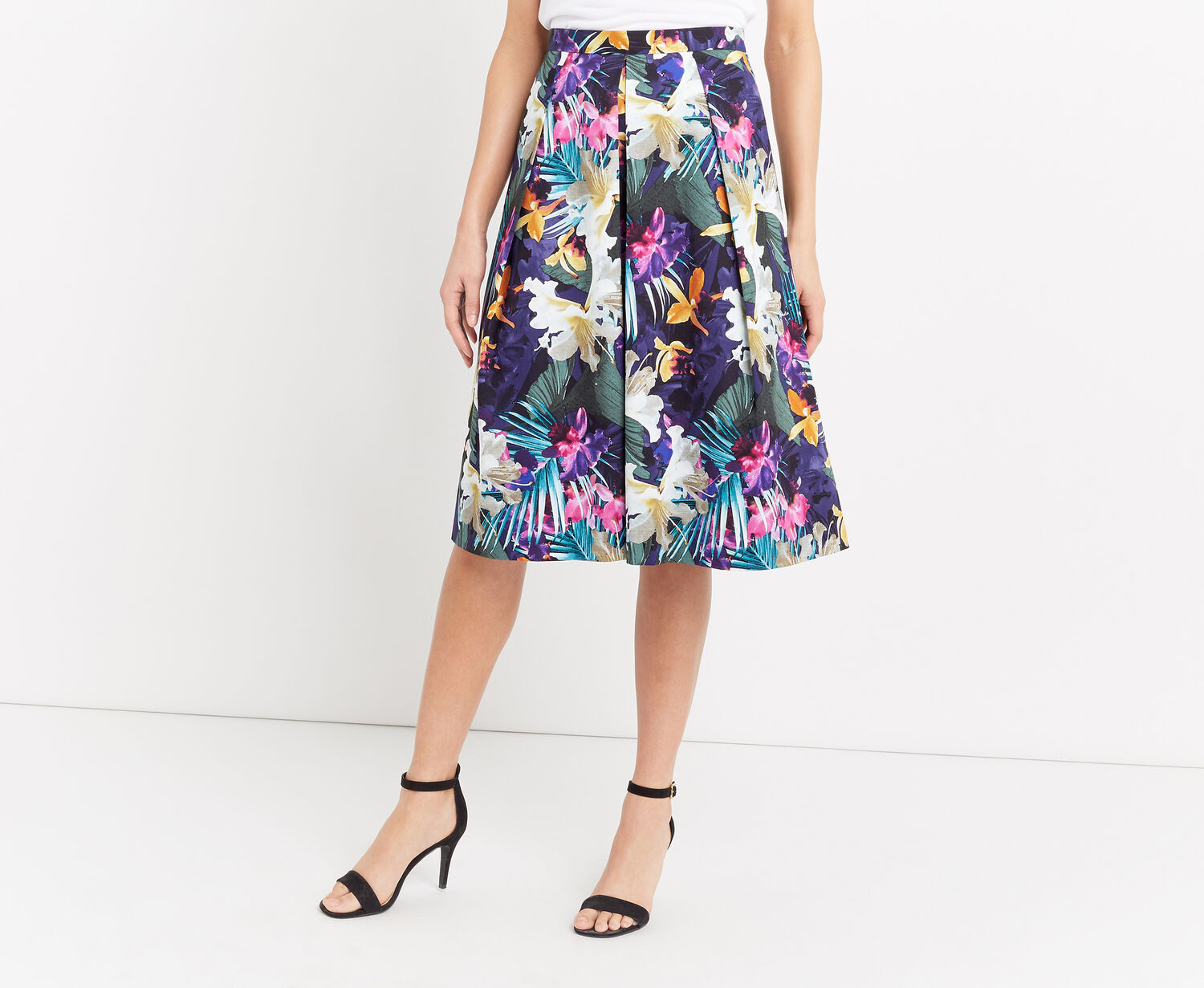 Oasis, TROPICAL MIDI SKIRT Multi Blue 1