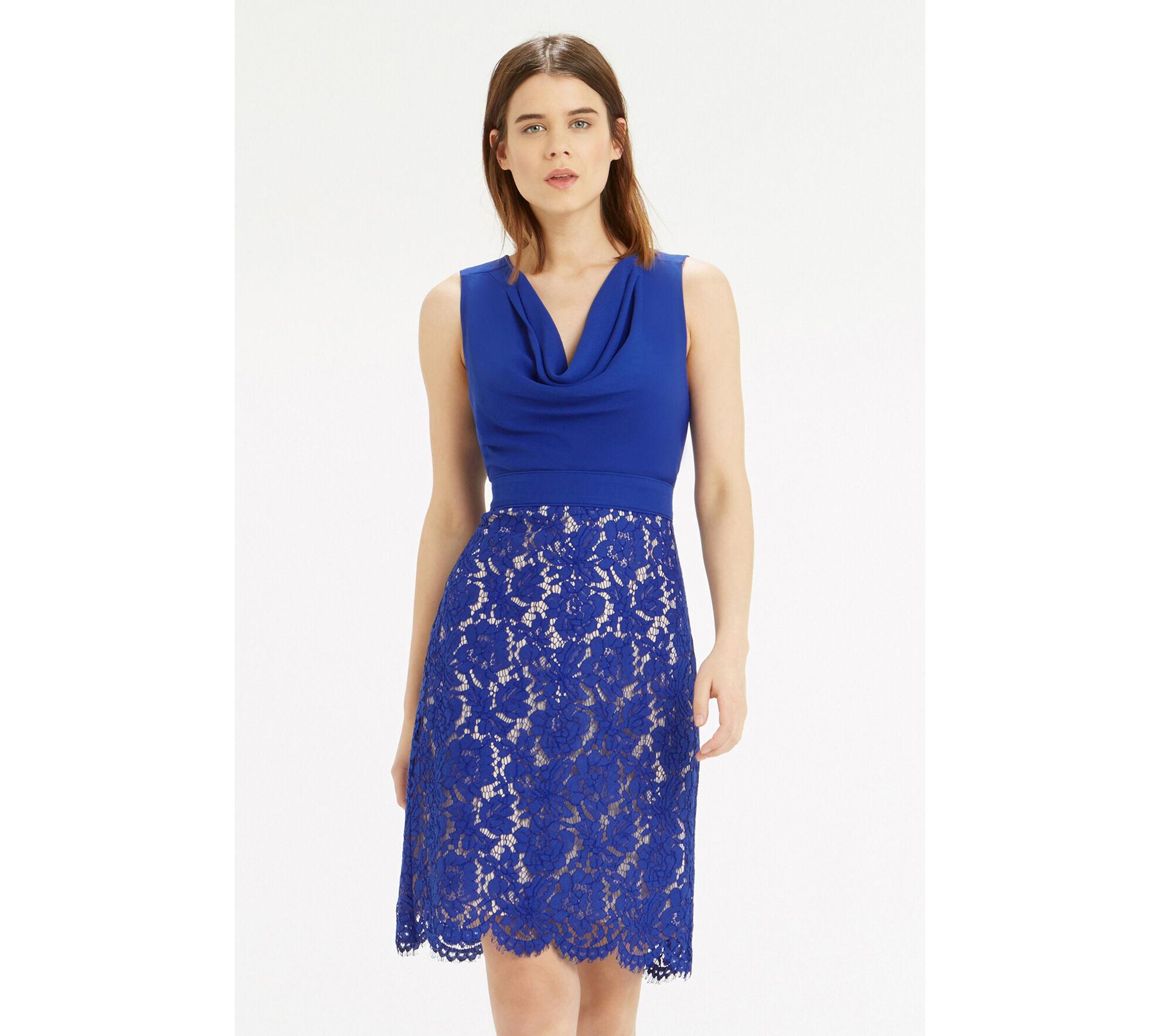 Cowl Dress: Cowl Neck Lace Pencil Dress