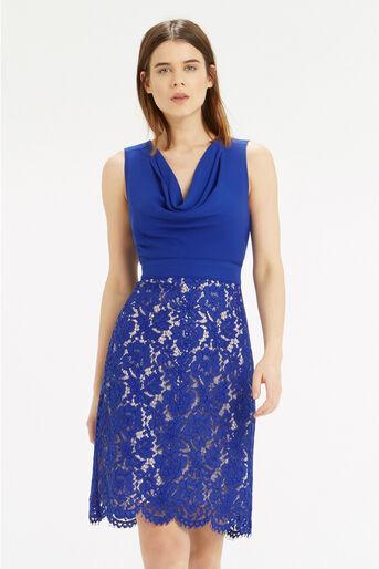 Oasis, Cowl Neck Lace Pencil Dress Rich Blue 1