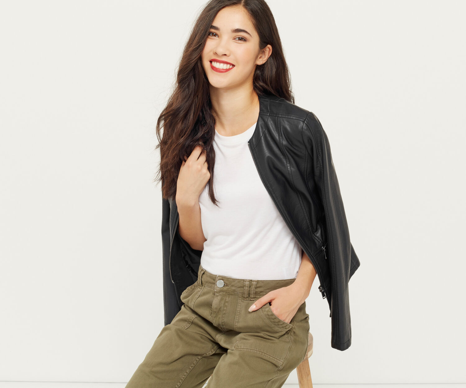 Oasis, FAUX LEATHER COLLARLESS JACKET Black 1