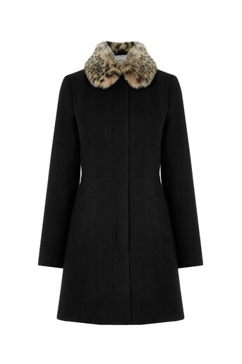 Oasis, LEOPARD COLLAR COAT Black 0