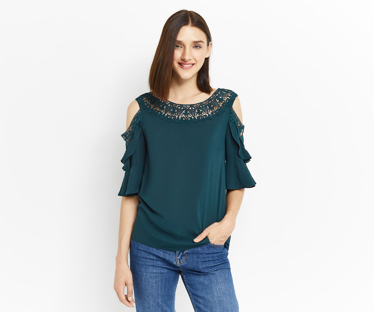 Oasis, LACE TRIM FRILL SLEEVE TOP Deep Green 1