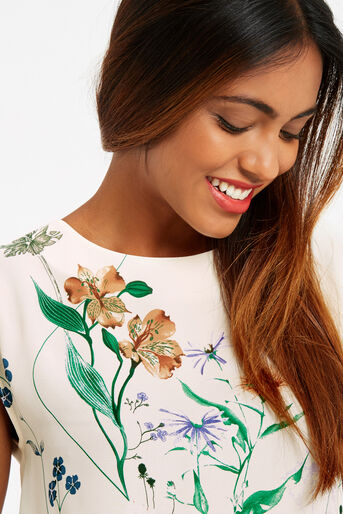 Oasis, FLORAL PRINT TEE Off White 4