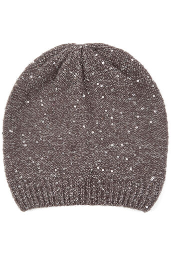 Oasis, SEQUIN KNIT BEANIE Mid Grey 0