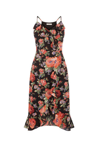 Oasis, FRILL ROSE MIDI DRESS Multi Black 0