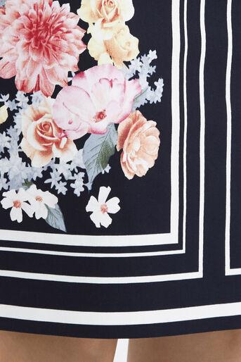 Oasis, Petite Scarf Floral Skirt Multi Blue 4