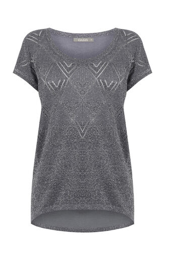 Oasis, SPARKLE KNIT TEE Mid Grey 0