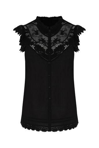 Oasis, Lace Trim Cotton Shirt Black 0
