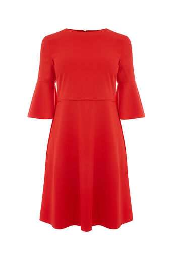 Oasis, FLUTE SLEEVE DRESS LONG Rich Red 0