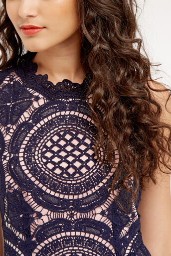 Oasis, LACE DRESS Navy 4
