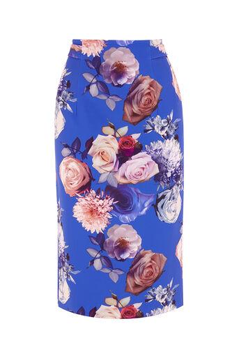 Oasis, ROSE PENCIL SKIRT Multi Blue 0