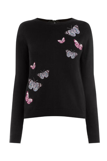 Oasis, Forest Embroidered Jumper Black 0