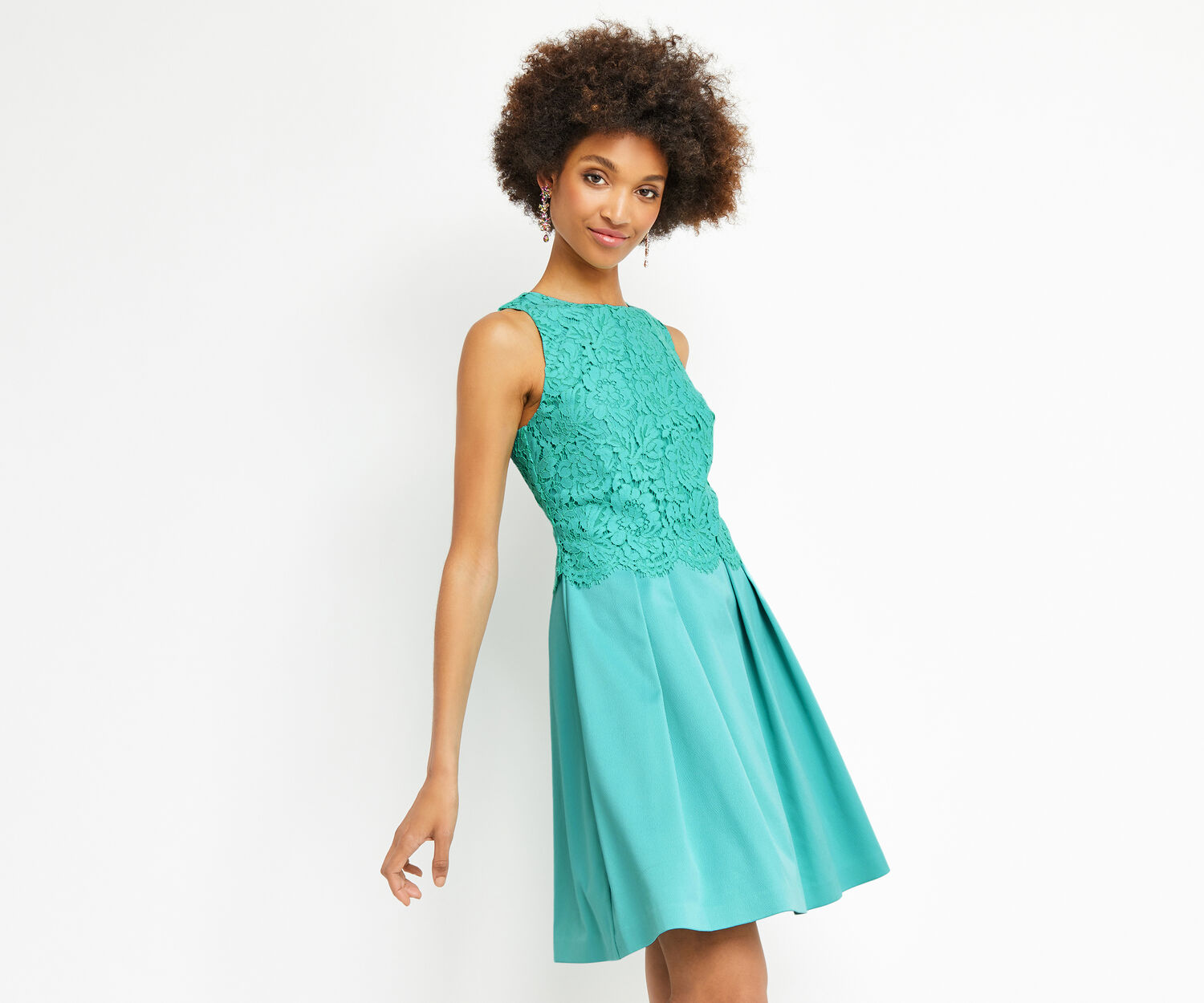 Oasis, LACE BODICE 2 IN 1 SKATER Turquoise 1