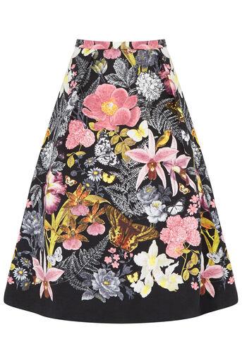 Oasis, Petite Botanical Midi Skirt Multi Black 0
