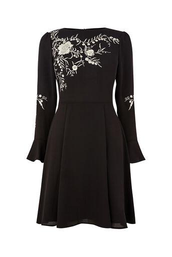 Oasis, KIMONO EMBROIDERED DRESS Black 0