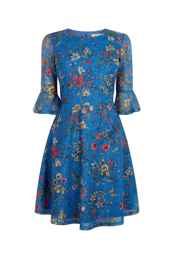 Oasis, AZELIA PRINTED LACE DRESS Multi Blue 0