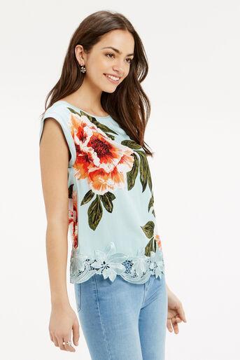 Oasis, Floral Lace Trim T-Shirt Turquoise 1