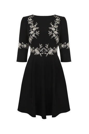 Oasis, OSAKA EMBROIDERED SKATER DRESS Black 0