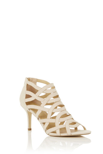 Oasis, CARLY CAGED SANDAL Mid Neutral 0
