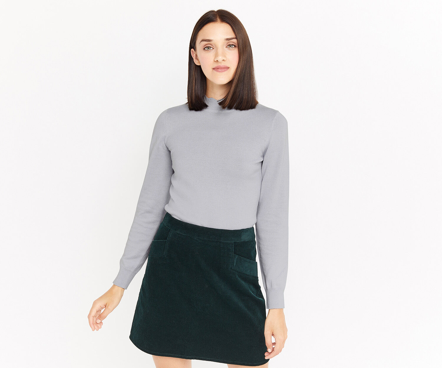 Oasis, MINI SCALLOP TURTLE NECK KNIT Pale Grey 1