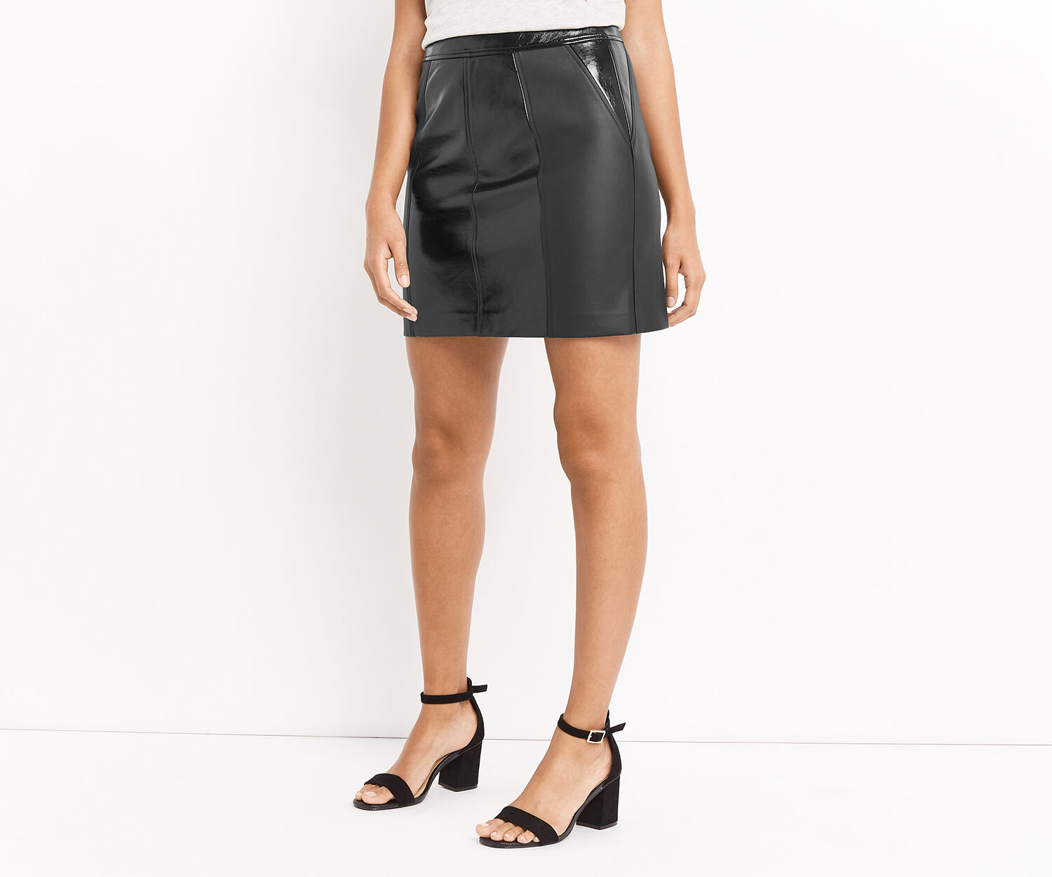 Oasis, Patched patent faux leather mi Black 1