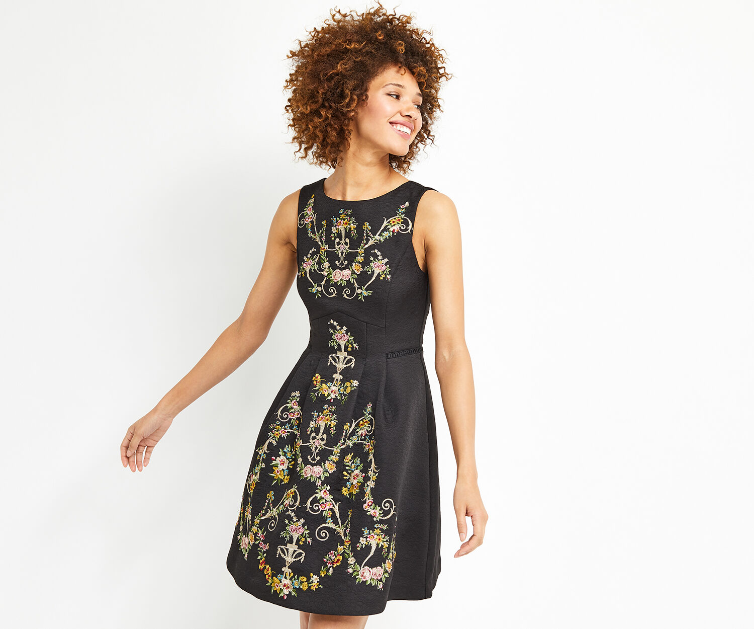 Oasis, EMBROIDERED JACQUARD DRESS Black 1
