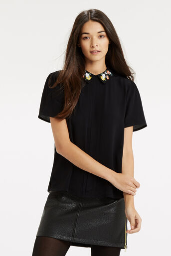 Oasis, Embroidered Collar Top Black 1