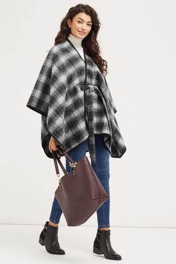 Oasis, BELTED CHECK WRAP Black and White 2