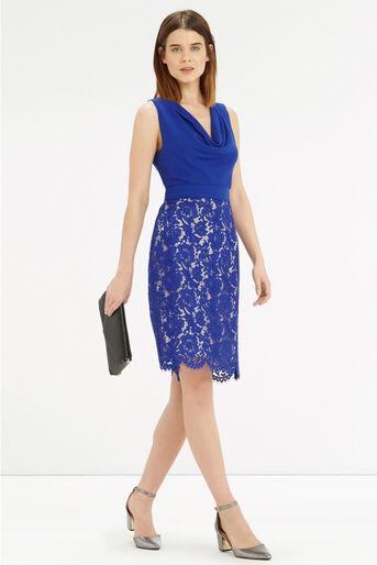 Oasis, Cowl Neck Lace Pencil Dress Rich Blue 2