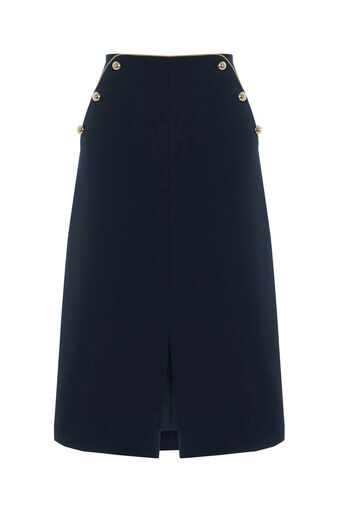 Oasis, BUTTON MIDI SKIRT Navy 0