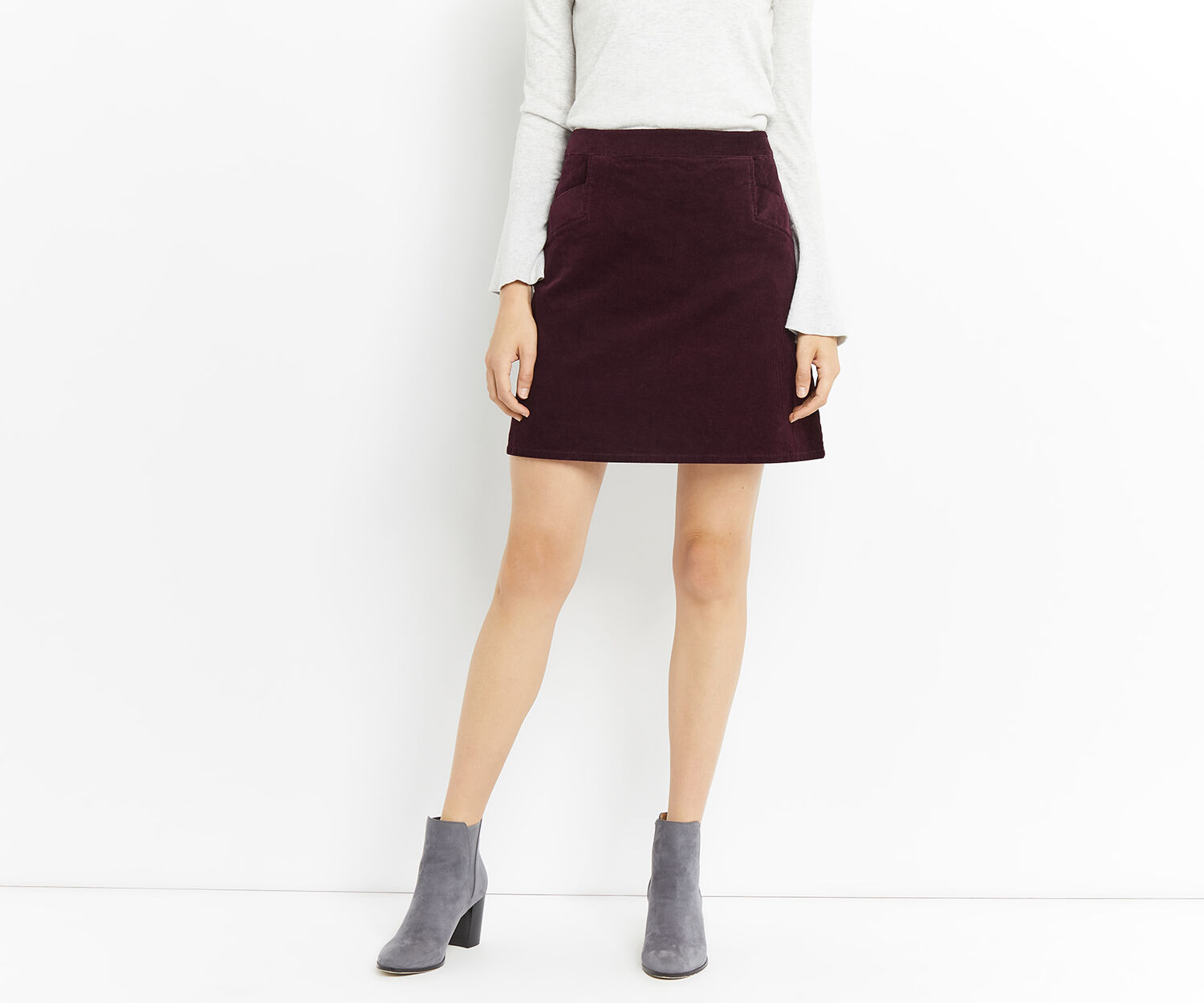 Oasis, CUT ABOUT CORD SKIRT Burgundy 1